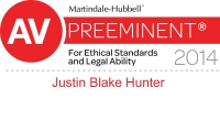 AV Preeminent For Ethical Standards and Legal Activity for Justin Blake Hunter